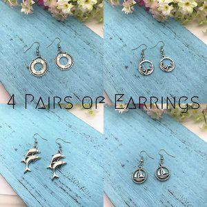 4 Pairs of Silver Earrings